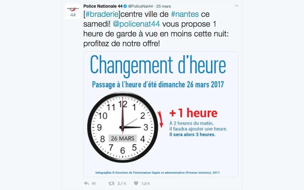 Changement d 39 heure quand la police du 44 vous invite en garde vue bigcitylife - Changement heure hiver 2017 france ...
