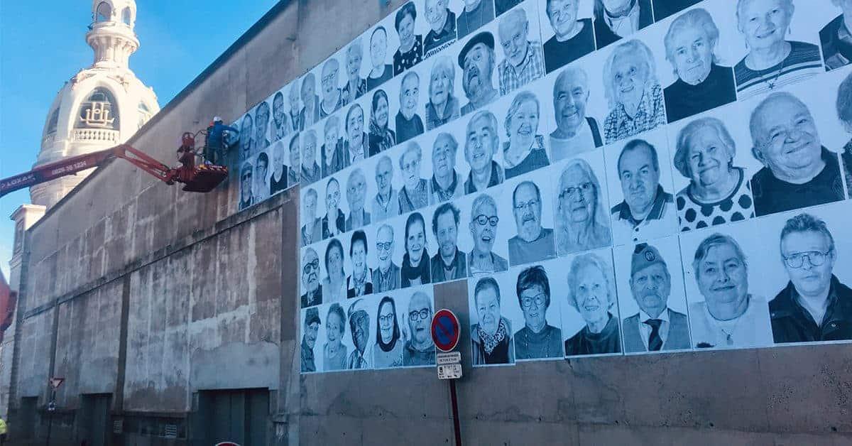 street art ephemere exposition regarde-moi par les petits freres des pauvres au lieu unique