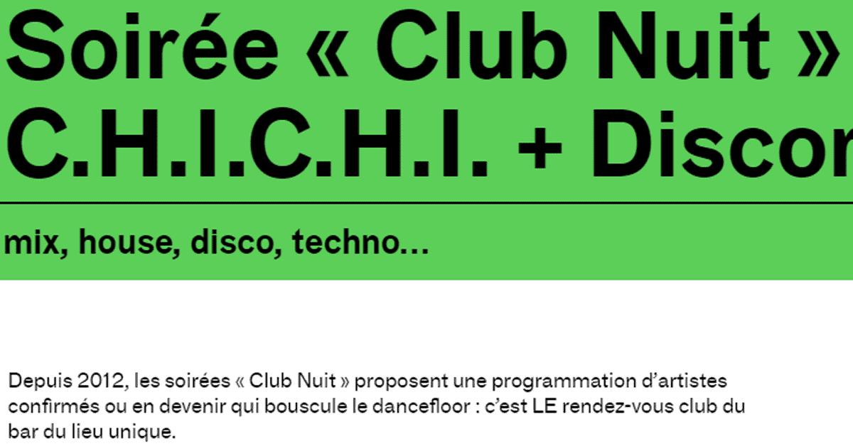 Soirée Club Nuit au Lieu Unique jeudi soir !