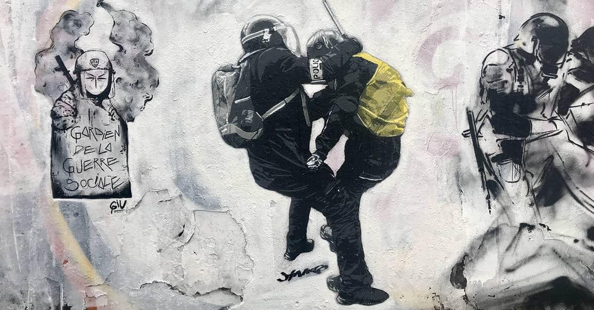 fresque contre la répression quais de la loire 2020