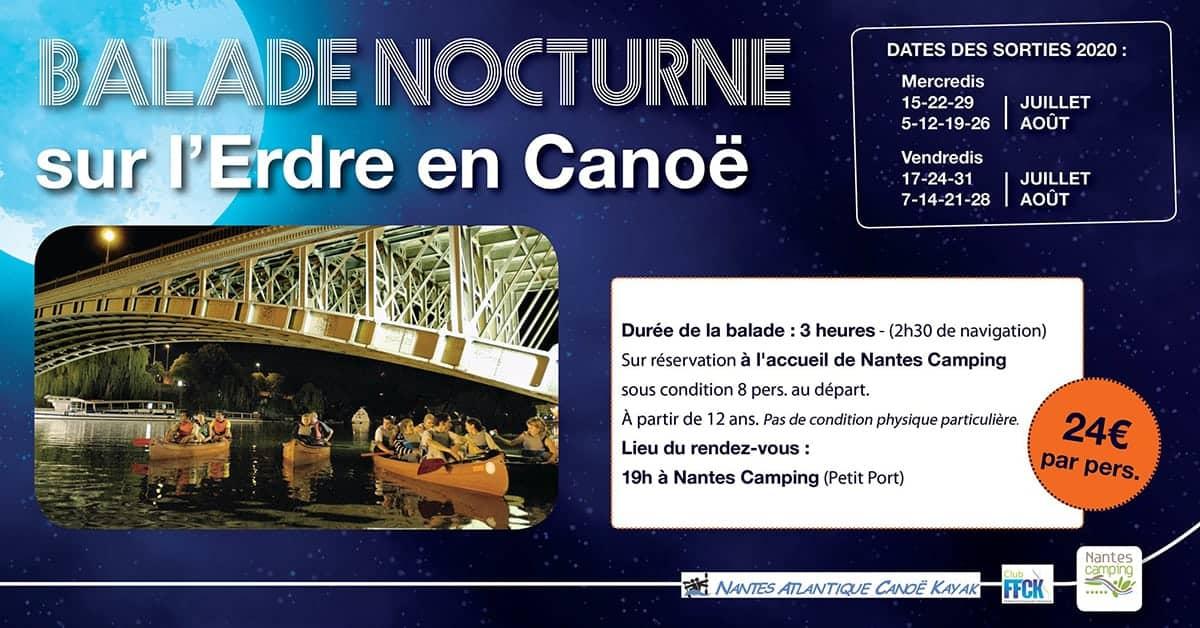 balade nocturne canoe camping petit port nantes 2020